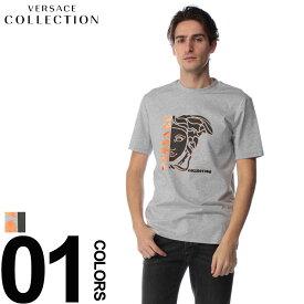VERSACE COLLECTION (ヴェルサーチ コレクション) フロントメデューサロゴ クルーネック 半袖 Tシャツブランド メンズ 男性 カジュアル ファッション トップス シャツ コットン プリント 春夏 VCV800862DVJ601