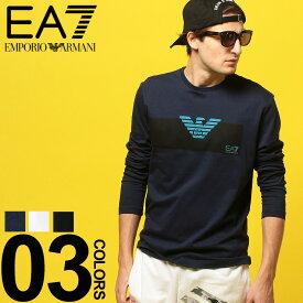 396be10b70 ... 綿100% フロントマーク クルーネック 長袖 Tシャツブランド メンズ 男性 カジュアル ファッション トップス シャツ ロンT スポーツ  コットン EA3GPT11PJT7Z