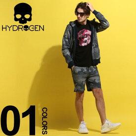 HYDROGEN (ハイドロゲン) 綿100% 総柄 パーカー ショートパンツ セットアップブランド メンズ 男性 カジュアル ファッション 上下セット ジップ プリント 裏毛 スウェット HY240606SETUP