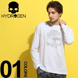 HYDROGEN (ハイドロゲン) 綿100% ヘキサゴンスカル クルーネック 長袖 Tシャツブランド メンズ 男性 カジュアル ファッション トップス シャツ ロンT ドクロ ストリート HY240611