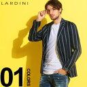 LARDINI (ラルディーニ) 麻混 ストライプ シングル 段返り3ツ釦 ジャケットブランド メンズ 男性 カジュアル ファッシ…