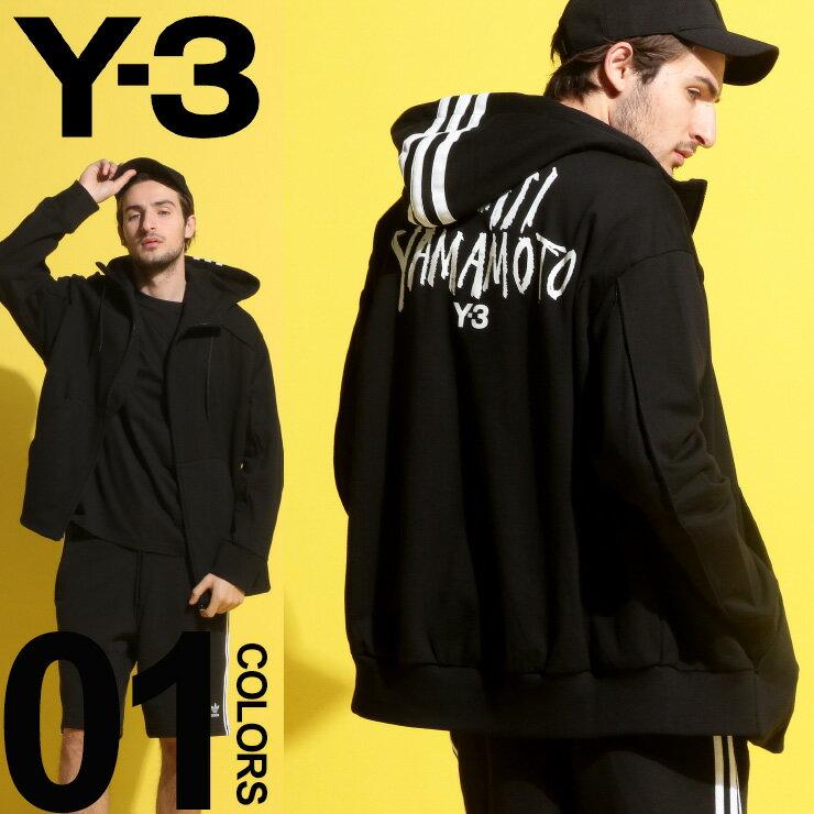 Y-3 (ワイスリー) フードスリーライン YOHJI YAMAMOTO フルジップ パーカーブランド メンズ 男性 カジュアル ファッション トップス かぶり アディダス グラフィック プリント Y3DY7160