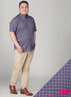 半袖シャツ・大きいサイズ・HYBRIDBIZプリントチェックボタンダウン半袖シャツポロ