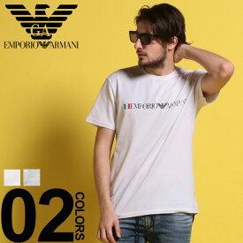 アルマーニ インナーTシャツ トップス メンズ EMPORIO ARMANI (エンポリオ アルマーニ) 国旗ロゴプリント クルーネック 半袖 アンダーTシャツブランド メンズ 男性 カジュアル トップス アンダーウェア 下着 肌着 コットン プリント EA1108539P510