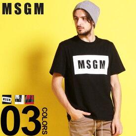 MSGM (エムエスジーエム) 綿100% BOXロゴ クルーネック 半袖 Tシャツブランド メンズ 男性 カジュアル ファッション トップス シャツ コットン シンプル プリント 春夏 MS2640MM67