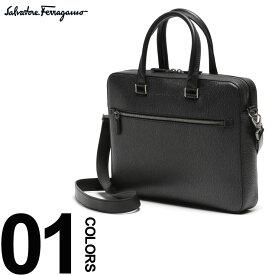 FERRAGAMO (フェラガモ) 2WAY カーフレザー トロリーストラップ ブリーフバッグブランド メンズ 男性 紳士 ビジネス 小物 鞄 バッグ ショルダー ビジネスバッグ FG670616S9