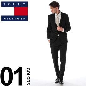 TOMMY HILFIGER (トミーヒルフィガー) ストレッチ ウール混 無地 シングル 2ツ釦 スーツ BLACKブランド メンズ 男性 紳士 ビジネス フォーマル ウール シンプル ノータック 伸縮 TM2ASB0028