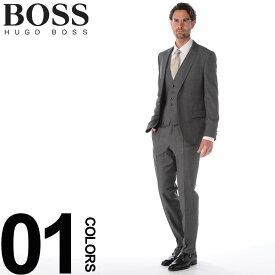 HUGO BOSS (ヒューゴ ボス) ウール100% ミニドット シングル 2ツ釦 スリーピース スーツブランド メンズ 男性 紳士 ビジネス フォーマル 3Pスーツ ベスト ウール ノータック HBHG10202657WE