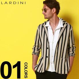 LARDINI (ラルディーニ) 綿100% ブートニエール ストライプ シングル 2ツ釦 ニットジャケットブランド メンズ 男性 紳士 カジュアル フォーマル ニット シングルジャケット 春夏 LDLJM5652011