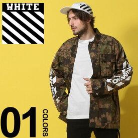 OFF-WHITE (オフホワイト) 綿100% 迷彩柄 フルボタン フィールドジャケット DIAG CAMOUブランド メンズ 男性 カジュアル ファッション アウター カモフラ ミリタリー コットン プリント OWEL06S19A66024