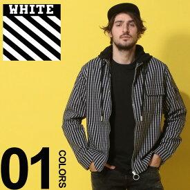 OFF-WHITE (オフホワイト) ストライプ リングジップ フード付き 長袖シャツ DIAG STRIPEDブランド メンズ 男性 カジュアル ファッション トップス アウター ストリート バックプリント OWGA65S19D20017