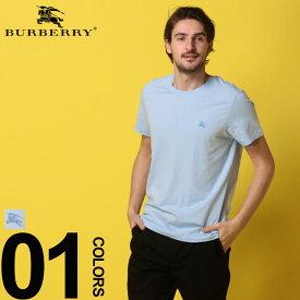 BURBERRY (バーバリー) 綿100% ワンポイント クルーネック 半袖 Tシャツ SAXEブランド メンズ 男性 カジュアル ファッション トップス シャツ コットン シンプル 春夏 BB8009478