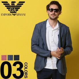 アルマーニ ジャケット EMPORIO ARMANI (エンポリオ アルマーニ) 麻100% 無地 シングル 2ツ釦 ジャケットブランド メンズ 男性 カジュアル ファッション アウター シンプル リネン テーラード 春物 EAW1G27SW1S29