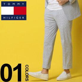 TOMMY HILFIGER (トミーヒルフィガー) シアサッカー ストライプ ノータック パンツブランド メンズ 男性 カジュアル ファッション ボトムス 柄物 ロングパンツ 春夏 TMASC004PANTS