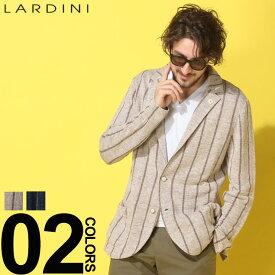 LARDINI (ラルディーニ) ブートニエール 麻100% ストライプ シングル ニットジャケットブランド メンズ 男性 カジュアル ファッション アウター リネン テーラード 柄物 春物 LDLJM56EG52009
