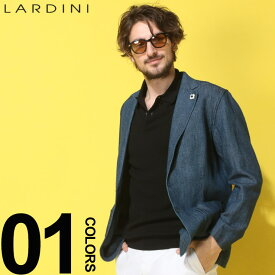 LARDINI (ラルディーニ) 綿麻 デニムルック シングル シャツジャケットブランド メンズ 男性 カジュアル ファッション アウター リネン テーラード 薄手 春物 LDAMAEGC1049