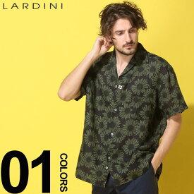 LARDINI (ラルディーニ) 麻100% フラワー オープンカラー 半袖シャツブランド メンズ 男性 カジュアル ファッション トップス シャツ 柄シャツ 開襟シャツ リネン 春夏 LDGIANEGC1043