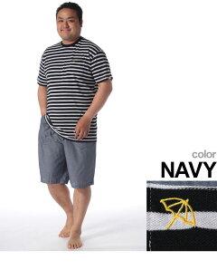 DRY鹿の子ボーダー×シャンブレー半袖Tシャツショートパンツパジャマ