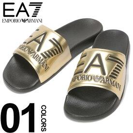 EMPORIO ARMANI EA7 (エンポリオ アルマーニ イーエーセブン) ロゴ メタリック スライドサンダル GOLDブランド メンズ 男性 カジュアル ファッション 靴 シューズ シャワーサンダル 夏 レジャー EAXCP001XCC22
