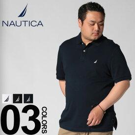 ポロシャツ 半袖 大きいサイズ メンズ 綿100% ワンポイントロゴ ホワイト/ブラック/ネイビー 1XL 2XL ノーティカ NAUTICA