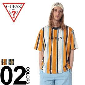 GUESS Tシャツ ゲス 綿100% ロゴ刺繍 マルチストライプ オーバーサイズ 半袖 Tシャツメンズ カジュアル 男性 ファッション トップス シャツ クルーネック ゆったり 春夏 M81P85R5DD2