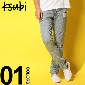 Ksubi (スビ) ダメージ加工 ボタンフライ ジーンズ CHITCH EXPOSED CAMOブランド メンズ 男性 カジュアル ファッション ボトムス クラッシュ ストリート コットン ロング KB5000003464