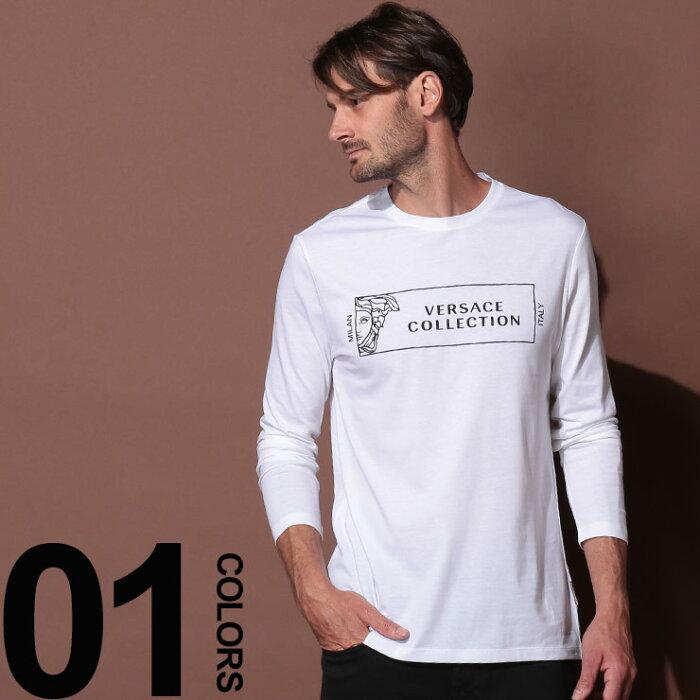 VERSACE COLLECTION (ヴェルサーチ コレクション) 綿100% フロントメデューサ クルーネック 長袖 Tシャツブランド メンズ 男性 カジュアル ファッション トップス シャツ ロンT プリント コットン VCV800491RVJ633
