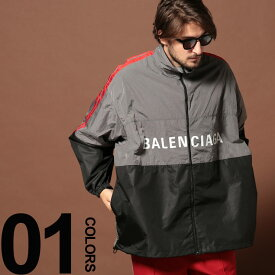BALENCIAGA (バレンシアガ) ナイロン ロゴ 切り替え フルジップ ブルゾンブランド メンズ 男性 カジュアル ファッション アウター ジャケット スタンド オーバーサイズ BC534317TDO05