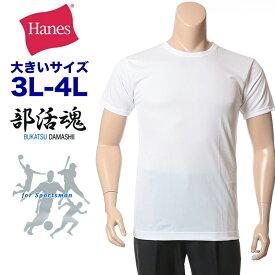 大きいサイズ メンズ Hanes (ヘインズ) 2枚組 部活魂 クルーネック 半袖 アンダーシャツ [LLサイズ 3L 4L] ヘインズ 部活魂 2p サカゼン インナー 肌着 機能性 下着 シャツ まとめ セット 吸汗 速乾 部活tシャツ