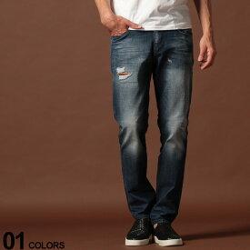 EMPORIO ARMANI (エンポリオ アルマーニ) ダメージ加工 ロゴ ジップフライ ジーンズ SLIM BLUEブランド メンズ 男性 カジュアル ファッション ボトムス ジーパン デニム 細身 コットン EA6G1J061D6YZ