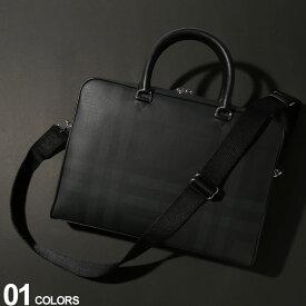BURBERRY (バーバリー) レザー ロンドンチェック ブリーフケースブランド メンズ 男性 紳士 ビジネス ファッション トート ショルダー チェック バッグ 鞄 BB8013948F9