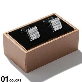BURBERRY (バーバリー) パラジウムプレート チェックエングレイブ スクエア カフリンクス SILVERブランド メンズ 男性 紳士 ビジネス 小物 ギフト プレゼント アクセサリー カフスボタン BB8015273F9