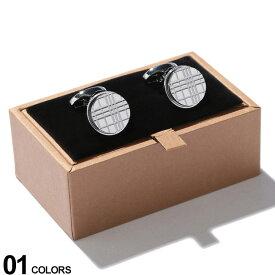 BURBERRY (バーバリー) パラジウムプレート チェックエングレイブ ラウンド カフリンクス SILVERブランド メンズ 男性 紳士 ビジネス 小物 ギフト プレゼント アクセサリー カフスボタン BB8015270F9