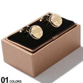 BURBERRY (バーバリー) パラジウムプレート チェックエングレイブ ラウンド カフリンクス GOLDブランド メンズ 男性 紳士 ビジネス 小物 ギフト プレゼント アクセサリー カフスボタン BB8015269F9