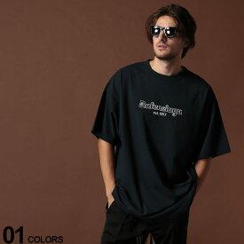 BALENCIAGA (バレンシアガ) 綿100% ロゴ刺繍 クルーネック 半袖 Tシャツ est.1917ブランド メンズ 男性 カジュアル ファッション トップス シャツ コットン シンプル 春夏 BC583214TFV44
