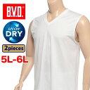 大きいサイズ メンズ B.V.D. (ビーブイディー) 2枚組み Vネック ノースリーブ アンダーシャツ [5L 6L] サカゼン 肌着 下着 インナー Tシャツ ドライ 速乾 吸水 快適 tシャツ