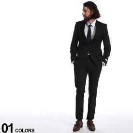Calvin Klein (カルバン クライン) ストレッチ ウール100% 無地 シングル 2ツ釦 ノータック スーツブランド メンズ 男性 紳士 ビジネス フォーマル ウール ブラックフォーマル 無地 CK5FYO110F9