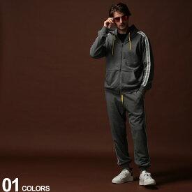 DIESEL (ディーゼル) ロゴテープ フルジップ パーカー スウェットパンツ セットアップブランド メンズ 男性 カジュアル ファッション 上下セット スエット 裏毛 フード ストリート DSSE8MTAWISETUP