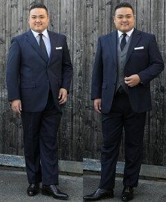 大きいサイズメンズスーツ・シングル2ツ釦ワンタックウォッシャブルパンツイージーケアビジネススーツウエストアジャスター付