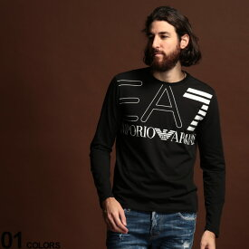 EMPORIO ARMANI EA7 (エンポリオ アルマーニ イーエーセブン) 綿100% BIGロゴ クルーネック 長袖 Tシャツ BLACKブランド メンズ 男性 カジュアル ファッション トップス シャツ ロンT プリント スポーツ コットン EA6GPT12PJ02Z