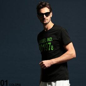 DIESEL (ディーゼル) 綿100% ロゴプリント クルーネック 半袖 Tシャツブランド メンズ 男性 トップス Tシャツ プリントT クルー 半袖 春夏 シンプル ストリート DSSASAAAXJ