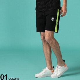 HYDROGEN (ハイドロゲン) イエローライン SUPERFASTロゴ ウエストゴム ショートパンツブランド メンズ 男性 ボトムス パンツ ショートパンツ ショーツ ナイロンパンツ スポーツ ストリート ドクロ スカル HY265106