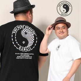 半袖 Tシャツ 大きいサイズ メンズ 綿100% バックBIGロゴプリント クルーネック ホワイト/ブラック 3L 4L 5L T&C Surf Designs ティーアンドシーサーフデザイン
