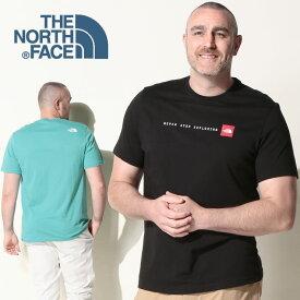■最大2000円offクーポン有■半袖 Tシャツ 大きいサイズ メンズ 綿100% クルーネック NEVER STOP EXPLORIN コットン ブラック/サックス 1XL-2XL THE NORTH FACE ザ ノースフェイス