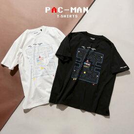 半袖 Tシャツ 大きいサイズ メンズ 綿100% メイズプリント クルーネック 刺繍 キャラクター ホワイト/ブラック 3L 4L 5L 6L 7L 8L 9L相当 PAC-MAN パックマン