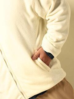 フリース・大きいサイズ・メンズ・秋・秋冬・アウター・無地スタンドフルジップ長袖ジャケット