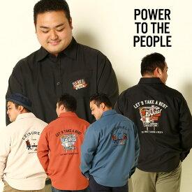 長袖 シャツ 大きいサイズ メンズ バック刺繍 ポケット デザイン アイボリー/ブラック/オレンジ/ブルー XL LLサイズ 3L 4L 5L 6L 7L相当 POWER TO THE PEOPLE パワートゥザピープル