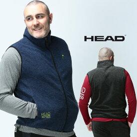 ベスト フリース 大きいサイズ メンズ カチオン スタンド フルジップ ベスト ジレ 防寒 起毛 アウトドア ダークグレー/ネイビー 3L-6L HEAD ヘッド