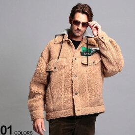 ディーゼル メンズ ボアジャケット DIESEL ボア 刺繍 フード ブルゾン ブランド アウター ジャケット ボアパーカー もこもこ ビッグシルエット DSA00558KAYY