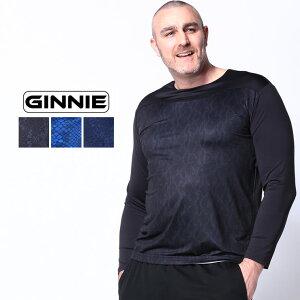 長袖 Tシャツ 大きいサイズ メンズ 切り替え クルーネック スポーツ インナー アンダーウェア ブラック/ブルー/ネイビー 3XL 4XL 5XL 6XL GINNIE ジーニー